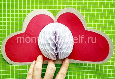 Открытка-сердечко с бумажным шариком