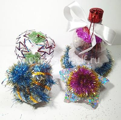 Елочные игрушки из пластиковой бутылки