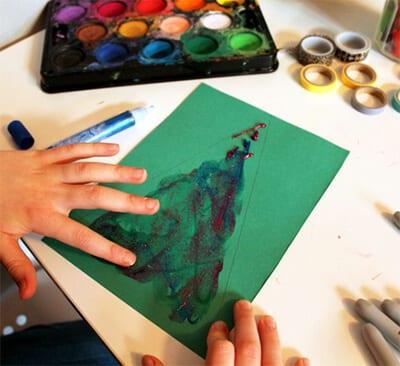 Елочка рисунок пальчиками