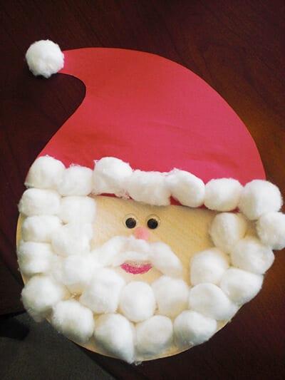 Аппликация Дед Мороз из ватных шариков