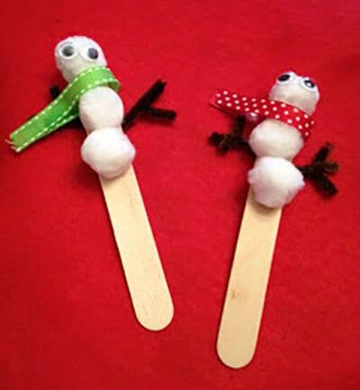 Снеговик на палочках от мороженого