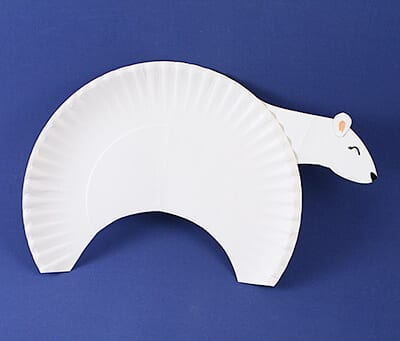 Crafting a polar bear from a disposable plate