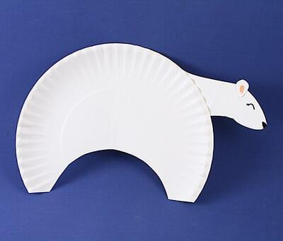Поделка белый медведь из одноразовой тарелки