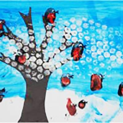 Снег нарисован пупырчатой пленкой