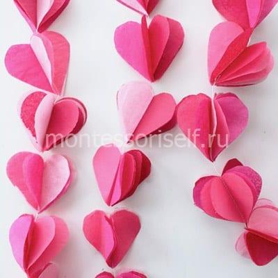 Подвеска из многослойных сердечек