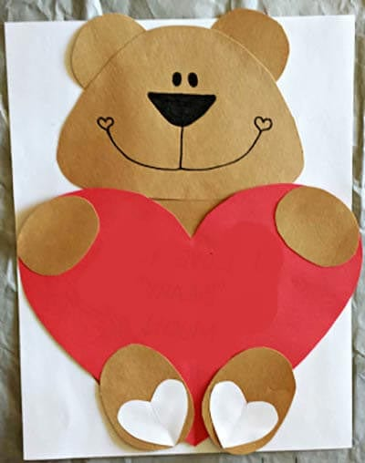 Card with teddy bear for Valentine's Day