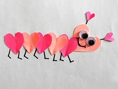 Сороконожка из сердечек