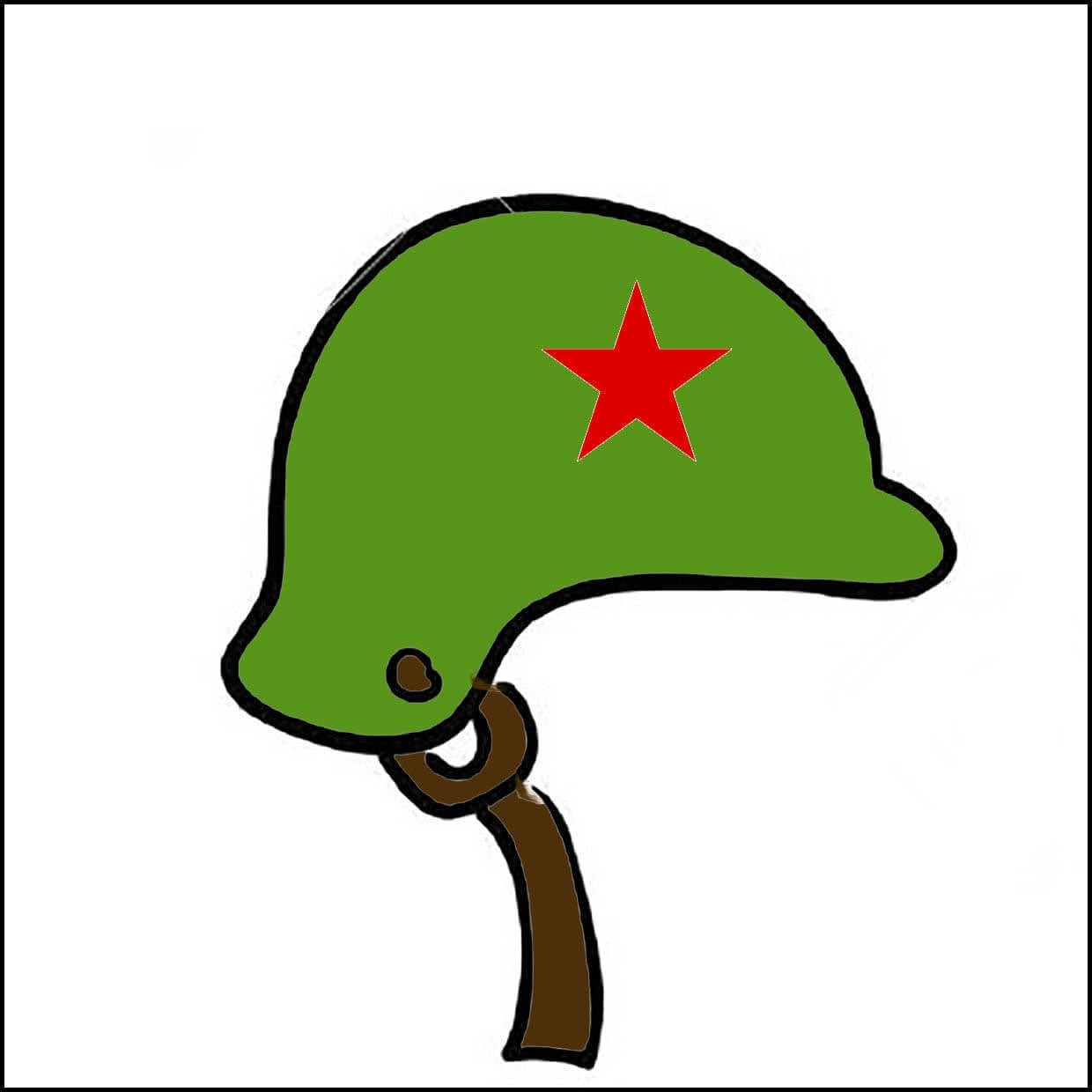 Picture a soldier's helmet