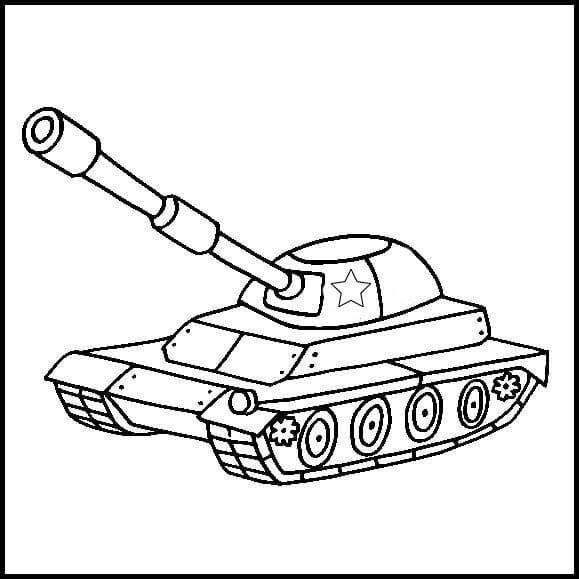 Раскраска к 23 февраля танк