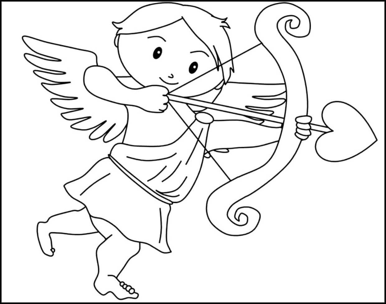 Раскраска Купидон пускает стрелу любви