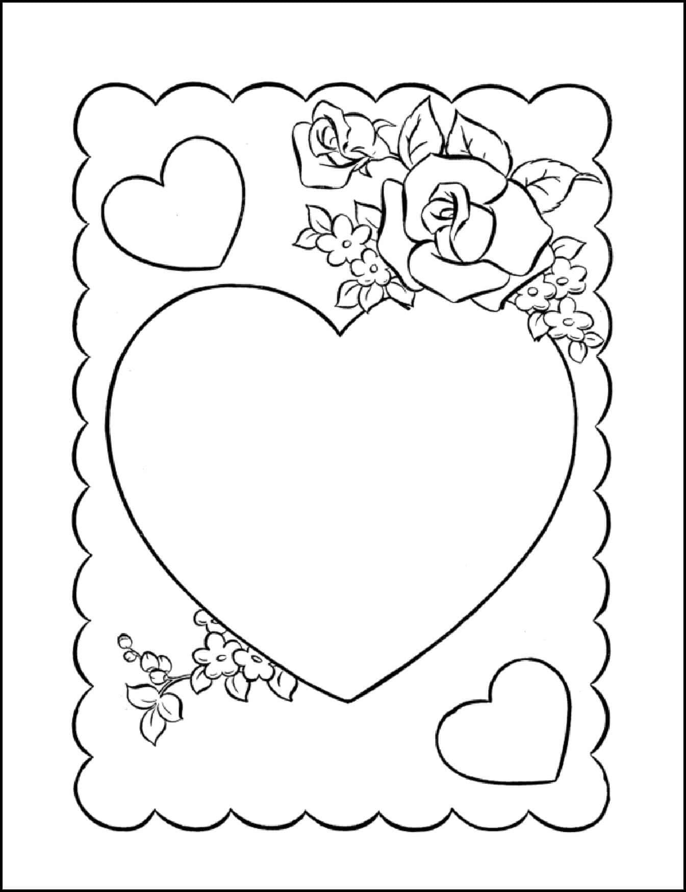 Coloring card for Valentine's Day