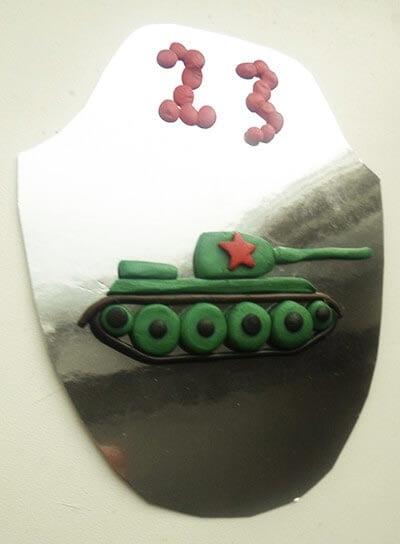 Аппликация танк на 23 февраля