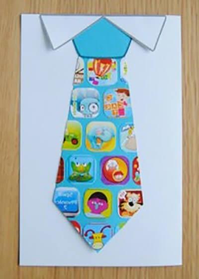 Приклеиваем уголки рубашки и галстук