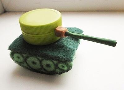 Glue the mug to the sponge