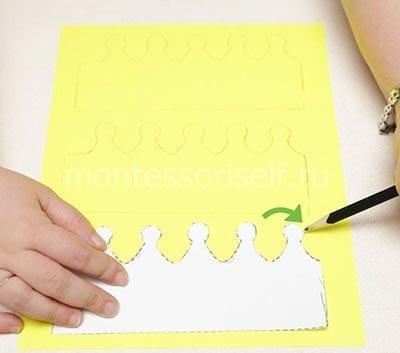 Контуры короны на желтой бумаги