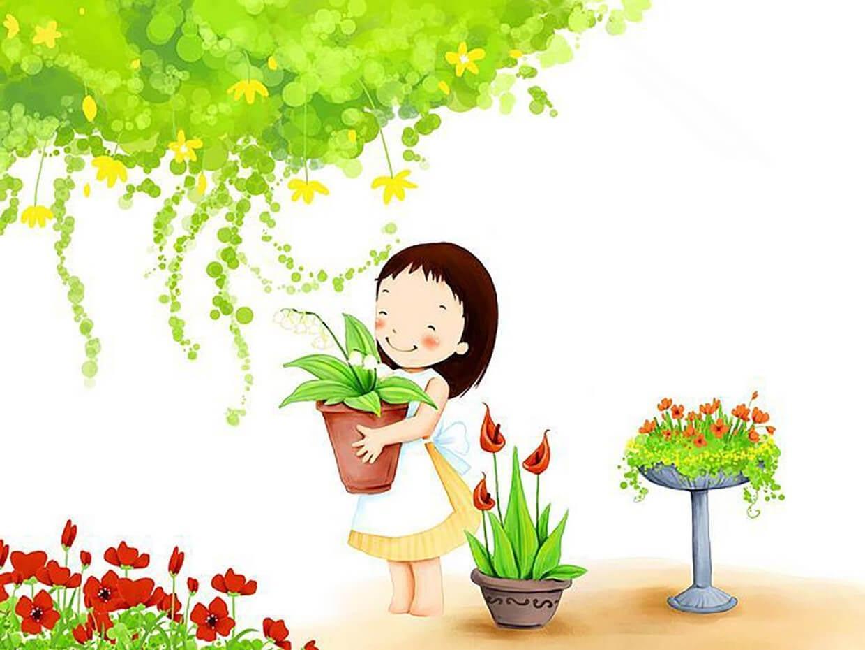 Девочка ухаживает за цветами картинка