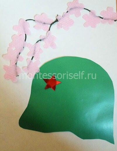 Украшаем ниточку бумажными цветами