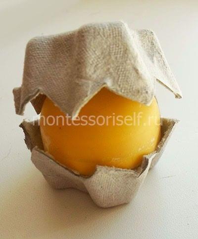 Кладем яичко в картонную ячейку