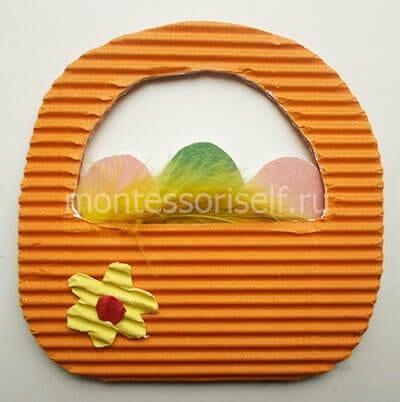Поделка пасхальная корзинка для детей