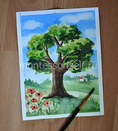 Рисунок дерево красками