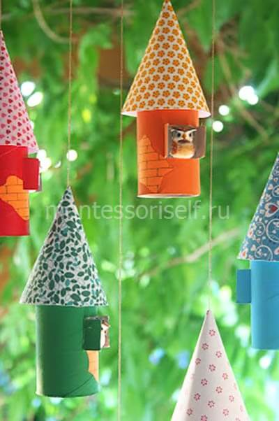 Домики из картонных рулонов