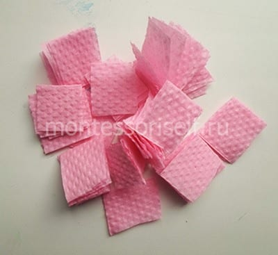 The squares from the napkin