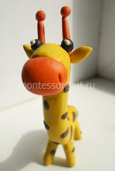 Жираф из пластилина своими руками