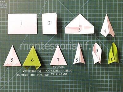 Схема сборки модуля оригами