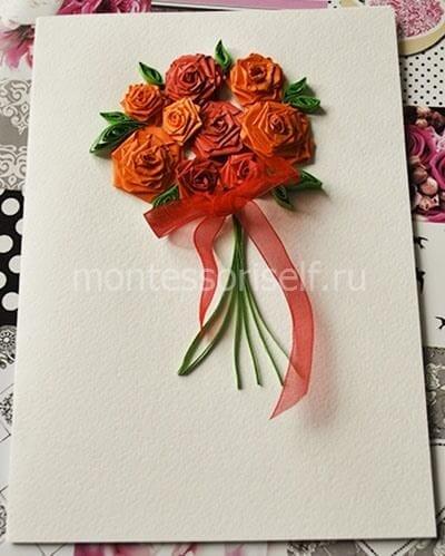 Открытка с розами на День учителя