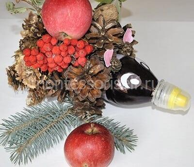 Ежик из пластиковой бутылки, шишек и других даров осени