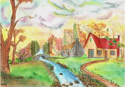 Осенний день с домиками и ручьем