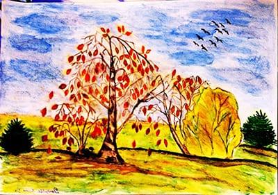 Прорисовка неба и земли на рисунках