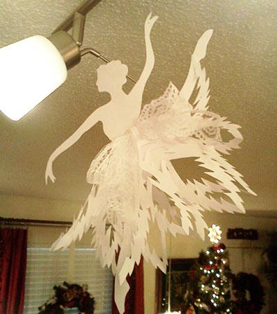 Снежинка-балеринка с ажурной юбочкой и тесемкой