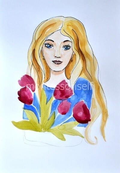 Раскрашиваем тюльпаны