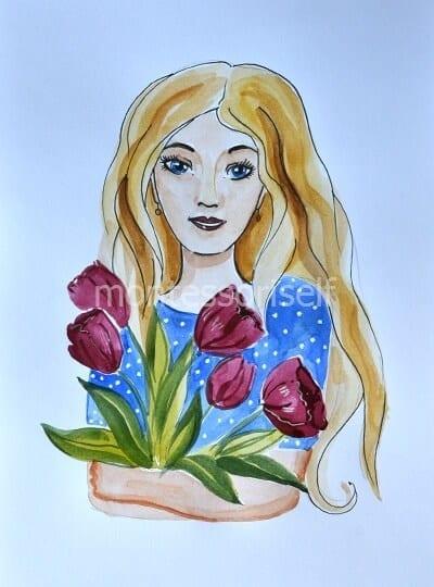 Раскрашиваем тюльпаны, прорисовываем руки