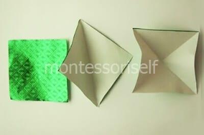 Заготовка с диагональными сгибами