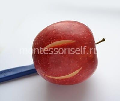 Делаем два надреза на красном яблоке