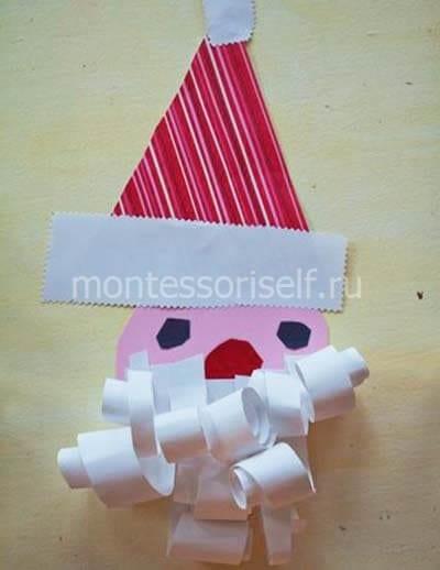 Аппликация Дед Мороз в полосатом колпачке