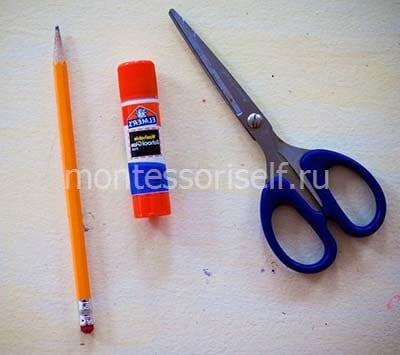 Карандаш, клей и ножницы