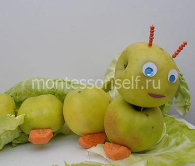 Поделка гусеница из яблок