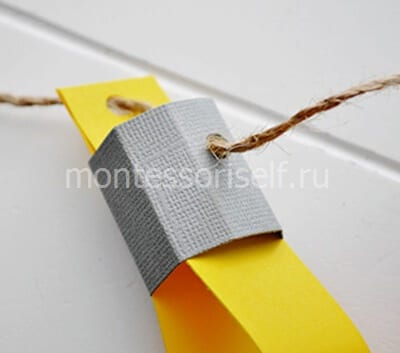 Продеваем нить в многогранник и бумажные полоски