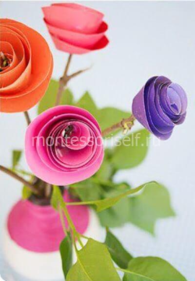Розы из бумаги на День Матери
