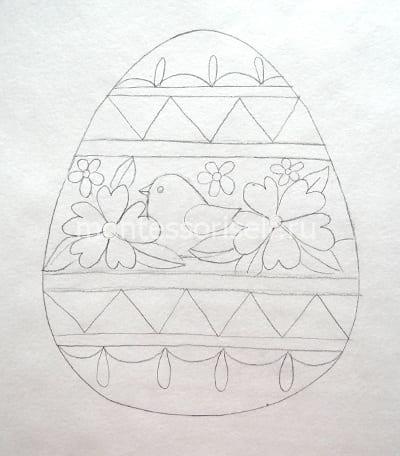 """Рисунок """"пасхальное яичко"""" карандашом"""