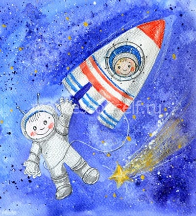 Рисунок на День Космонавтики для открытки