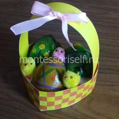 15 Пасхальная корзинка с зайцами своими руками