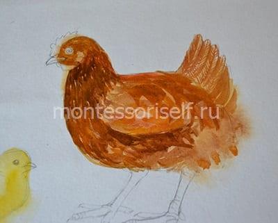 """Рисунок на Пасху """"курочка с яичком"""" 4"""