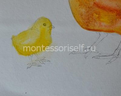 """Рисунок на Пасху """"курочка с яичком"""" 3"""