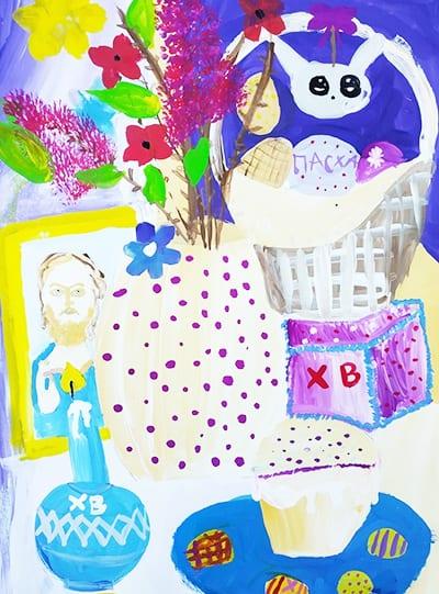 """Рисунок """"пасхальный стол"""" с вазой, куличом, свечкой, яичками и иконой"""