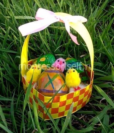 itog Пасхальная корзинка с зайцами своими руками