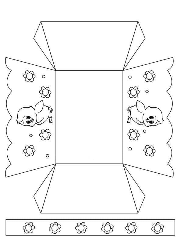Шаблон для вырезания пасхальной корзинки 1